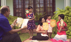 A family in Sri Lanka acting out a Bible story