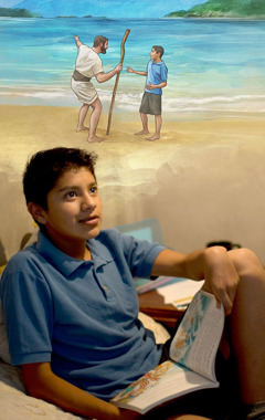 A teenage boy reading a Bible story and imagining talking to a faithful servant in Paradise