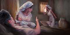 Hebrew midwives Shiphrah and Puah are watchful after a Hebrew woman gives birth to a son