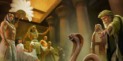 Moses' rod turns into a snake before Pharaoh and the Egyptian court