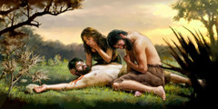Adam and Eve grieve as they look at their dead son Abel