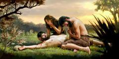 Adamu raua Eva e ta'i ra a hi'o ai i ta raua tamaiti o Abela tei pohe