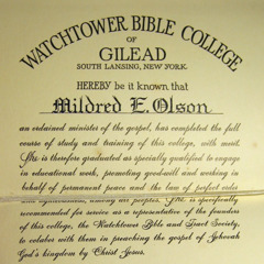 Mildred Olson's Gilead diploma