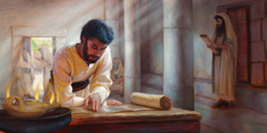 Jesus studying a scroll in a first-century synagogue
