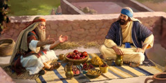 Samuel and Saul enjoy a meal together on a rooftop