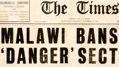 Newspaper headline announcing the ban of Jehovah's Witnesses in Malawi
