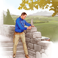 A young man in paradise uses a trowel to build a stone wall