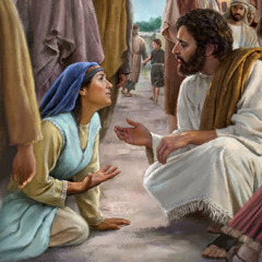 Jesus speaks kindly to a woman who suffered from an illness for 12 years