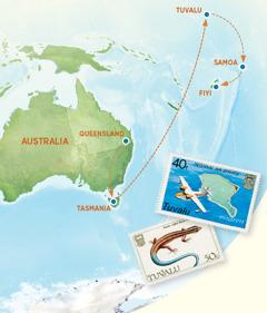 Australiapa mäpan, Tasmania, Tuvalu, Samoa y Fiyi