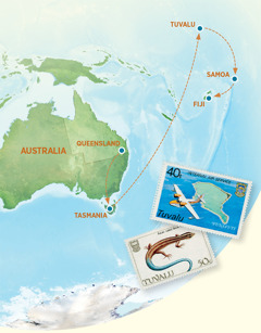 Mapu e akaari ra ia Autireria, Tasmania, Tuvalu, Amoa e Viti