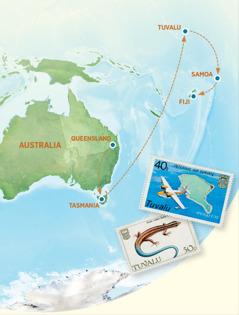 Mmapa wo o bontšhago Australia, Tasmania, Tuvalu, Samoa le Fiji