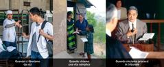 1. Un uomo rifiuta una sigaretta; 2.Una sorella predica in un paese straniero; 3.Un fratello in un tribunale