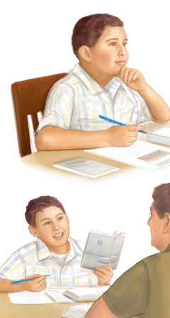 A father uses study guides from jw.org and the Bible Teach book to study with his young son
