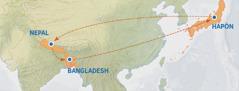 Mapa to arufudubalin üma le tárügüdübei Michiyo luma tani weiriei Japóngiñe lun Nepalin, lárigiñe aba houdin Bangladesh ani lárigiñe aba hagiribudun Japón
