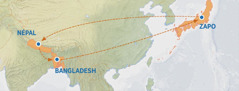 A map showing the route from Japan to Nepal, Bangladesh, and back to Japan