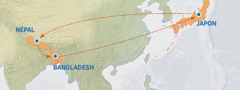 Karte oyo emonisi nzela banda Japon tii na Népal, Bangladesh, mpe kozonga lisusu na Japon