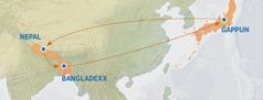 Mappa li turi r-rotta mill-Ġappun san-Nepal, il-Bangladexx, u lura l-Ġappun