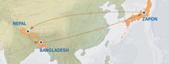 En map pe montre sa traze sorti Zapon pour al Nepal, apre Bangladesh e apre retourn Zapon