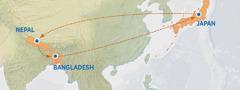 Mapa yebonisa nzila yezwa kwa Japan kuya kwa Nepal, kwa Bangladesh, ni kukuta kwa Japan