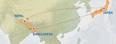 Mapa niku tasiya niku ankgolh Michiyo chu xchixku, litsukukgolh kJapón asta Nepal, alistalh ankgolh kBangladesh chu taspitkgolh kJapón