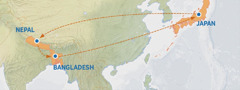 Ibalazwe elibonisa indlela esuka eJapani iya eNepal, naseBangladesh, nebuyela eJapan