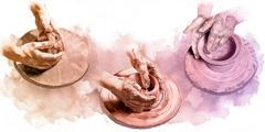 Un vasaio modella l'argilla e la trasforma in un vaso