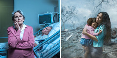 1. A distraught sister beside her husband's hospital bed; 2. A sister clutches her daughter after a storm destroyed their home