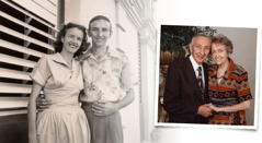 Ronald and Maxine Parkin shortly after they got married and at their 50th wedding anniversary