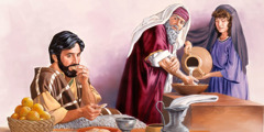 A Pharisee ritually washes his hands and looks critically at a man who has already started eating
