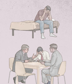 Un fratello è seduto sul letto ed è turbato pensando a un peccato del passato, ma poi ne parla con due anziani