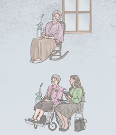 A sister, on oxygen, sits alone, but later attends a meeting with a younger sister