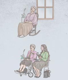 Una sorella che ha bisogno della bombola di ossigeno è da sola, ma poi è all'adunanza insieme a una sorella giovane
