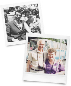 Walter and Eunice Markin in 1960 and in 1989