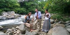 Daniel and Miriam preach to a man in Panama