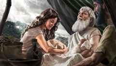 Abraham with Isaac, Rebekah, and his grandsons, Esau and Jacob