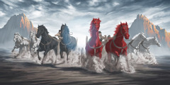Horses of different colors pull chariots between two copper mountains
