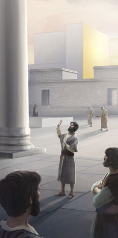 A man swears an oath in the temple