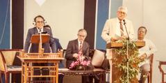 Felix Fajardo interprets a talk for Brother Albert Schroeder in 1983