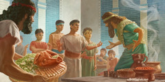 Daniel and his three companions refuse to eat the king's delicacies