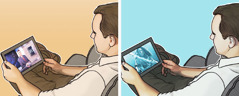 یہوواہ کا ایک گواہ اپنے ٹیبلٹ پر ایک نامناسب پروگرام دیکھ رہا ہے؛ یہوواہ کا ایک گواہ براڈکاسٹنگ دیکھ رہا ہے۔