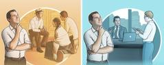 یہوواہ کا ایک گواہ اچھی ملازمت کرنے کے بارے میں سوچ رہا ہے؛ یہوواہ کا ایک گواہ کُلوقتی خدمت کرنے کے بارے میں سوچ رہا ہے۔