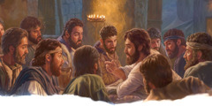 Jesus talks with his apostles on the evening before his death