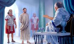 یسوع مسیح پُنطیُس پیلاطُس کے سامنے کھڑے ہیں۔