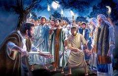 یسوع مسیح اِس بات پر پطرس کو ڈانٹ رہے ہیں کہ اُنہوں نے تلوار سے ملخُس کا کان کاٹ دیا ہے۔