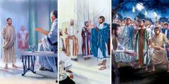 Jesús Poncio Pilatoq ñaupanpi kashan; Jesús impuesto pagana qolqeta jap'ishan; Jesús Pedrota phiñarikushan Malcoq ninrinta qhorusqanmanta
