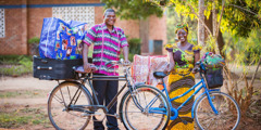 A circuit overseer and his wife in Malawi travel to the next congregation by bicycle
