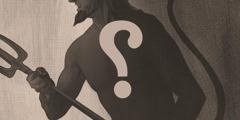 صورة شائعة للشيطان عليها علامة استفهام كبيرة. انه يحمل شوكة كبيرة ويشبه تيسا له قرنان وذيل.
