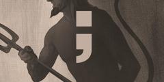 Συνηθισμένη απεικόνιση του Διαβόλου που κρατάει ένα δικράνι. Έχει την εμφάνιση τραγόμορφου πλάσματος με κέρατα και ουρά.