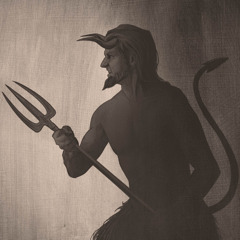 A popular depiction of the Devil holding a pitchfork. He has the appearance of a goatlike creature with horns and a tail.