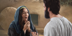 Mary Magdalene meeting the resurrected Jesus in front of an empty tomb.